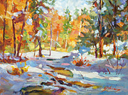 Creeks Prints - Snowy Autumn - plein air Print by David Lloyd Glover