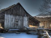 Split Rail Fence Photo Prints - Snowy Barn Print by Jane Linders