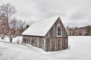 Cathedral Window Prints - Snowy Barn Print by Linda Pulvermacher