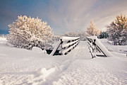 Footbridge Posters - Snowy Bridge At Winter Poster by Ingólfur Bjargmundsson