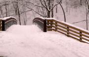 Freeport Prints - Snowy Bridge Print by David Bearden