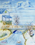 Winterscape Painting Originals - Snowy Bridge  by Kenneth Michur