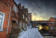 Sunset Framed Prints Framed Prints - Snowy Canal Footpath Framed Print by Yhun Suarez