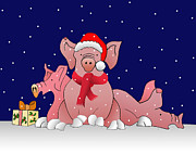 Farmyard Digital Art Posters - Snowy Christmas pigs Poster by Melech Yitzchak