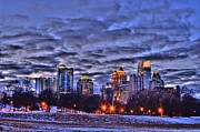 Photographers Atlanta Posters - Snowy City at Night Poster by Corky Willis Atlanta Photography