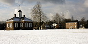 1750s Photos - Snowy Colonial Williamsburg Courthouse Green by Sally Weigand