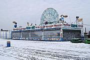 Snowy Coney Island Print by Andrew Kazmierski