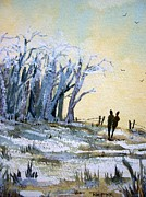 Walking Birds Originals - Snowy Copse by Trudy Kepke