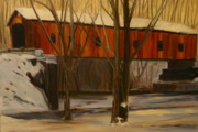 Betty Pimm Art - Snowy Covered Bridge by Betty Pimm