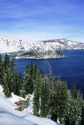 Crater Lake Posters - Snowy Crater Lake Poster by Greg Vaughn - Printscapes