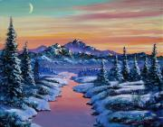 Snow Covered Pine Trees Paintings - Snowy Creek by David Lloyd Glover