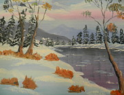 Snow Covered Pine Trees Paintings - Snowy Day in Europe by Pamela  Meredith