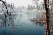 Spokane River Prints - Snowy Day on the River Print by Reflective Moments  Photography and Digital Art Images