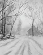 Snowy Trees Drawings - Snowy Day by Ronald Lightcap