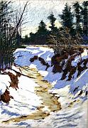 Brook  Pastels Metal Prints - Snowy Ditch Metal Print by Mary McInnis