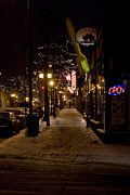 Snowy Night Art - Snowy Downtown by Laurianna Murray