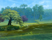 Snowy Trees Paintings - Snowy Egret Nomahagen Park by David Henderson