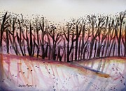 Snowy Trees Paintings - Snowy Field by Shana Rowe