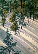 Snow Drifts Paintings - Snowy Hillside by Donald Maier