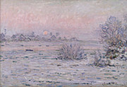 Winter Scene Metal Prints - Snowy Landscape at Twilight Metal Print by Claude Monet