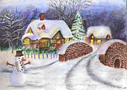 White House Pastels Posters - Snowy Landscape Poster by Gayatri Ketharaman