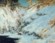 Wintry Painting Prints - Snowy Landscape Print by Gustave Courbet