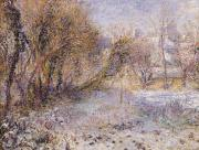 Winter Scene Metal Prints - Snowy Landscape Metal Print by Pierre Auguste Renoir