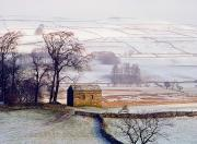 Farming Barns Framed Prints - Snowy Landscape With Barn, Elevated View Framed Print by Axiom Photographic