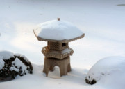Japanese Lantern Prints - Snowy Lantern Print by David Bearden