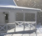 Snowy Maine Farmhouse Print by Lyana Votey