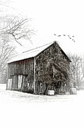 Shed Digital Art Metal Prints - Snowy Morning Metal Print by Mary Timman