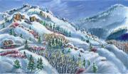 Wyoming Paintings - Snowy Mountain Road by Dawn Senior-Trask