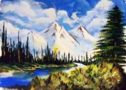Snowy Trees Paintings - Snowy Mountians by Stephan  Rowland