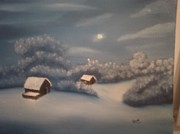 Snowy Night Painting Metal Prints - Snowy Night Metal Print by Thomas Hayes