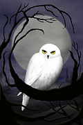 Snowy Night Art - Snowy Owl by Daneen Rush