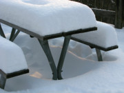 Park Benches Photos - Snowy Picnic Place by Ann Horn