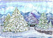 Snowy Trees Paintings - Snowy Pine Trees by Debbie Wassmann