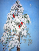 Blue And White Posters - Snowy Pine with Cardinals Poster by Ethel Vrana