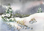 Snowfall Paintings - Snowy Pines by Pat St Onge