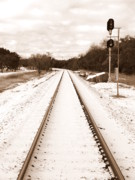 Snow Photo Prints - Snowy Railroad in Sepia Print by James Granberry