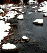 White As Snow Prints - Snowy River Print by The Forests Edge Photography - Diane Sandoval