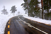 Yellow Line Prints - Snowy road Print by Carlos Caetano