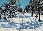 Loveland Artist Prints - Snowy Road Home Print by Mary Benke