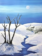 Snowy Night Painting Metal Prints - Snowy Scene Metal Print by Reb Frost