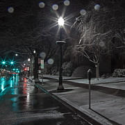 Lamp Post Prints - Snowy Sidewalk Street Lamp Print by John Stephens