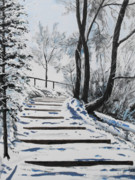 Steps Painting Originals - Snowy steps by Geoffrey Goodwin