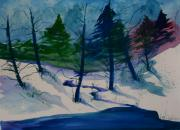Snowy Stream Paintings - Snowy Study by Julie Lueders