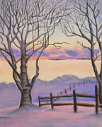 Bare Trees Pastels Prints - Snowy Sunrise  Print by Alissa  Perez