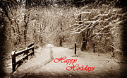 Christmas Greeting Photo Framed Prints - Snowy Trail Sepia Holidays Framed Print by Skip Willits