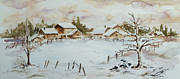 Christmas Eve Paintings - Snowy Village by Xueling Zou